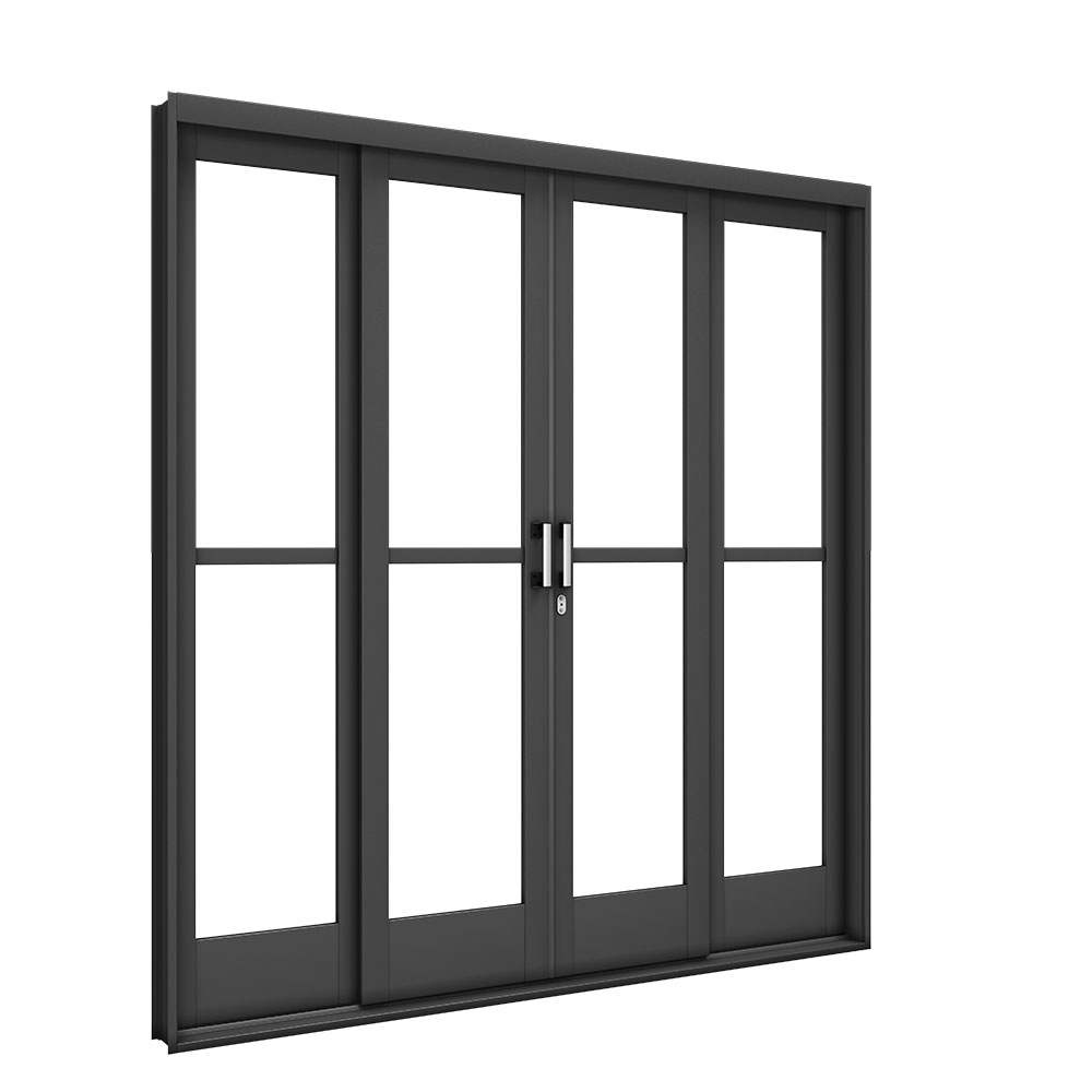 Porta de Correr Central Vidro Liso - Machado – Portas e Janelas de Aço e Alumínio