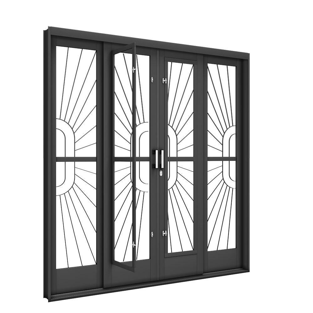 Porta de Correr Central com Postigo - Machado – Portas e Janelas de Aço e Alumínio