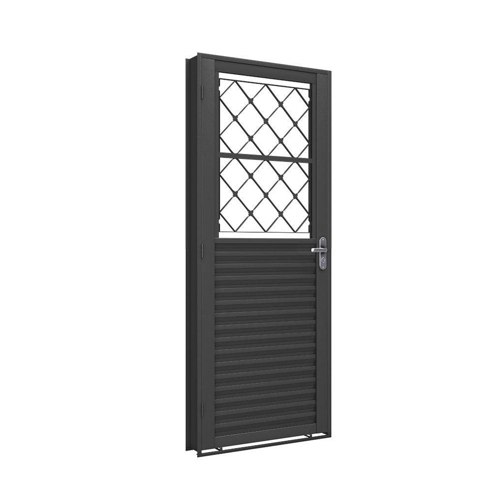 Porta Mista com Grade - Machado – Portas e Janelas de Aço e Alumínio
