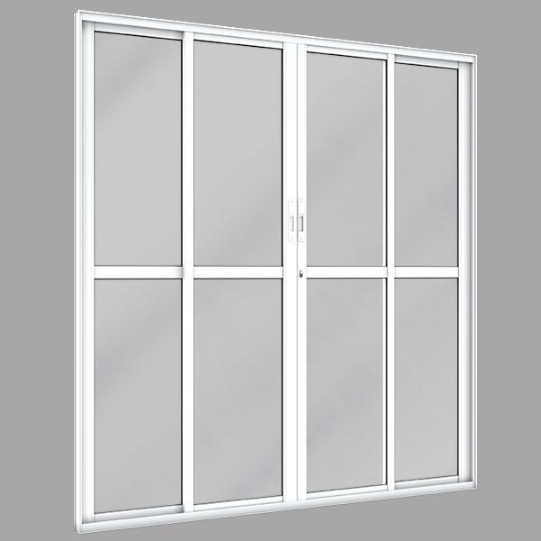Porta de Correr Vidro Liso 4 Folhas – Alumínio Plus - Machado – Portas e Janelas de Aço e Alumínio
